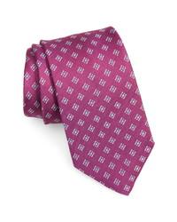 David Donahue Diamond Medallion Print Silk Tie
