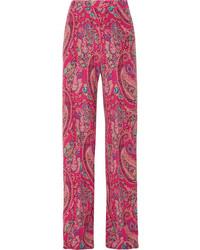 Etro Printed Silk Crepe De Chine Wide Leg Pants Magenta