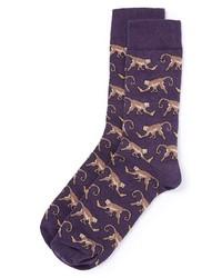 Topman Monkey Pattern Socks Purple One Size