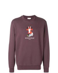 MAISON KITSUNÉ Maison Kitsun Cross Stitch Fox Logo Sweatshirt
