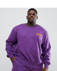 Jacamo Plus Sweatshirt In Purple With Print