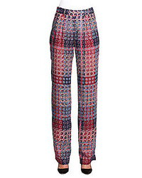 Thakoon Floral Plaid Print Wide Leg Pants