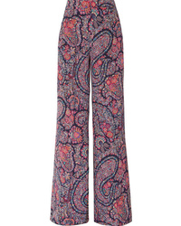 Etro Printed Silk De Chine Wide Leg Pants