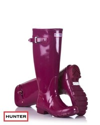 Hunter original tall gloss wellington boots violet medium 146715