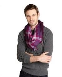 Gucci Purple Striped Cotton Silk Blend Scarf