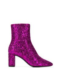Purple Sequin Ankle Boots