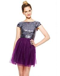Capsleeve mini sequin and tulle dress medium 117716