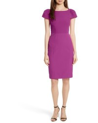 Milly Italian Cady Gathered Sleeve Sheath Dress