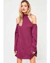Missguided Purple High Neck Cold Shoulder Dress