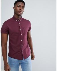 ASOS DESIGN Casual Slim Oxford Shirt In Burgundy