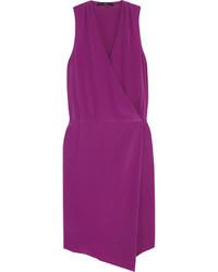 Wrap effect silk crepe dress medium 38459
