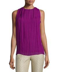 Etro Sleeveless Jewel Neck Plisse Top Magenta