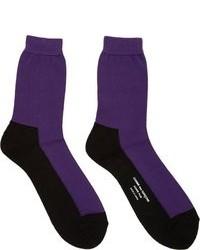 Comme des Garcons Comme Des Garons Homme Plus Black Purple Colorblocked Socks