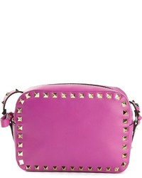 Purple Studded Leather Crossbody Bag