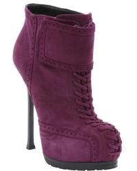 Saint Laurent Purple Suede Tribute 105 Lace Up Detail Ankle Booties