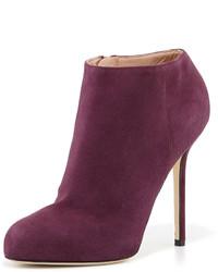 Suede high heel ankle bootie dark purple medium 150241