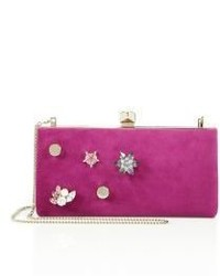 Jimmy Choo Celeste Crystal Button Suede Clutch