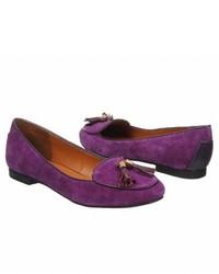 Purple Suede Tassel Loafers