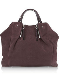 Shoes accessories suede and textured leather tote medium 107888