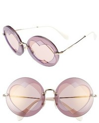 62mm heart inset round sunglasses lilac mix medium 1326626