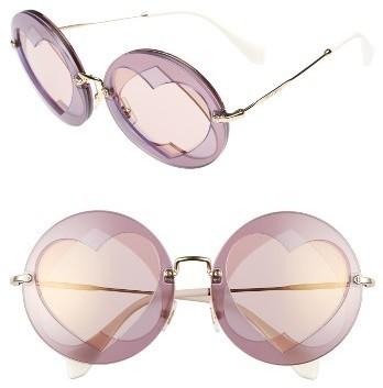 Miu Miu 62mm Heart Inset Round Sunglasses Lilac Mix