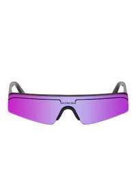 Balenciaga Black And Purple Ski Rectangle Sunglasses