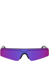 Balenciaga Black Purple Ski Rectangle Sunglasses