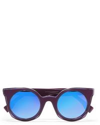 Fendi Cat Eye Acetate Mirrored Sunglasses Purple