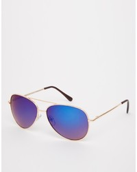 Asos Collection Aviator Sunglasses With Blue Mirror Lens