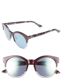 Christian Dior Dior Siderall 1 53mm Round Sunglasses Black Blue