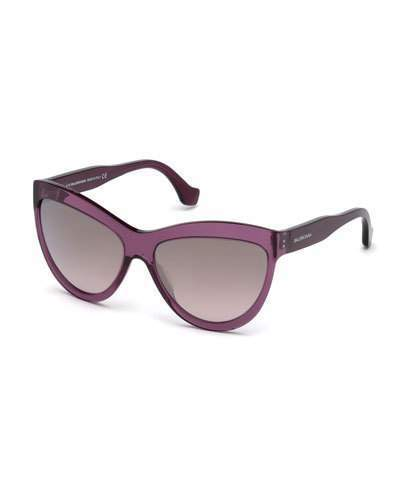 Balenciaga Gradient Flash Cat Eye Sunglasses Dark Purple