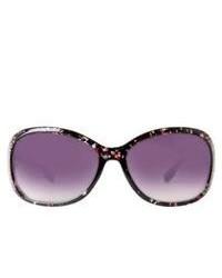 Icon Plastic Round Sunglasses With Rhinestones Purple Floral