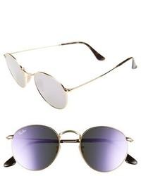 Icons 50mm round sunglasses medium blue flash medium 1326625