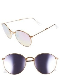 Ray-Ban Icons 53mm Folding Round Sunglasses Copper Flash