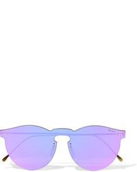 Illesteva Leonard Mask Round Frame Gold Tone Mirrored Sunglasses Purple
