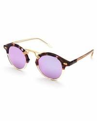 Krewe St Louis Round Mirrored Sunglasses Tortoisepurplechampagne