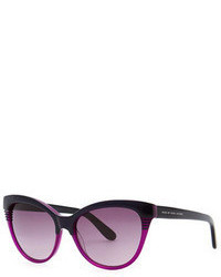 Marc by Marc Jacobs Notched Frame Cat Eye Sunglasses Blackpurple