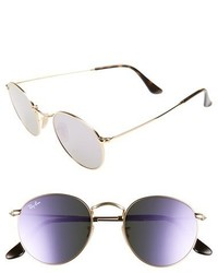 Ray-Ban 50mm Round Sunglasses Gold Blue