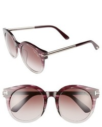 Tom Ford Janina 53mm Special Fit Round Sunglasses Dark Havana Gradient Green