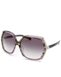 Tru Trussardi Square Purple Green Striped Sunglasses