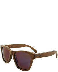 Woodzee The Lobo Walnut Sunglasses In Blue Purple