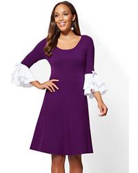 Poplin sleeve flare sweater dress medium 6717539