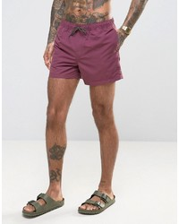 Asos Swim Shorts In Plum Short Length