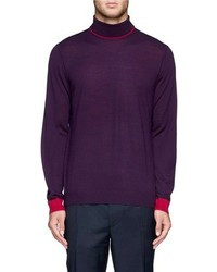 Nobrand Contrast Trim Merino Wool Turtleneck Sweater
