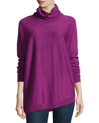 Eileen Fisher Merino Turtleneck Asymmetric Top