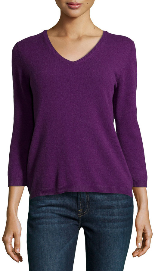 Neiman Marcus Cashmere V Neck Cashmere Sweater Purple | Where to ...
