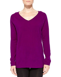 Cashmere v neck pullover sweater medium 93148