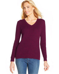 Long sleeve v neck cable knit sweater medium 93150