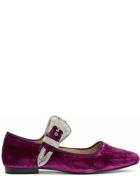 Toga Pulla Pink And Red Velvet Mary Jane Flats