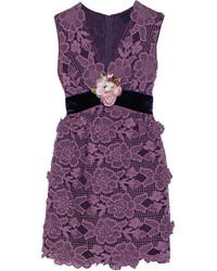 Anna Sui Camilla Velvet Trimmed Crocheted Lace Mini Dress Plum